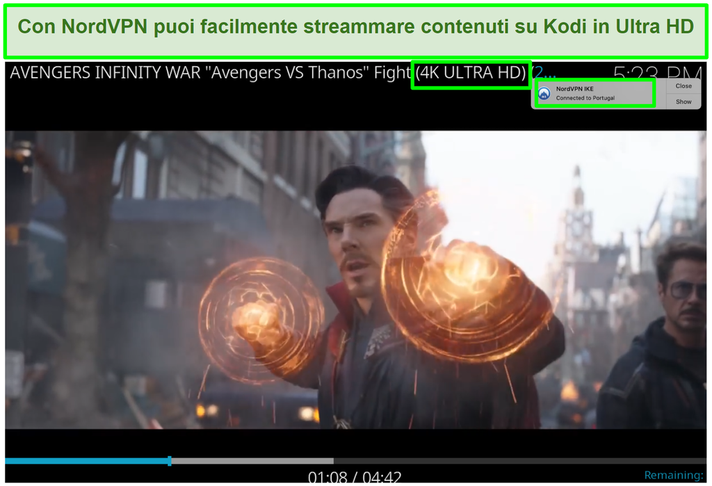 Screenshot di Avengers Infinity War su YouTube in 4K riprodotto tramite NordVPN