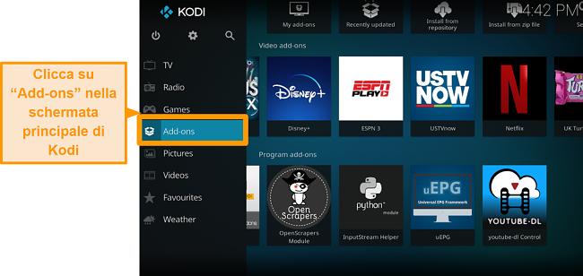 screenshot di come installare l'addon ufficiale di Kodi passo due componenti aggiuntivi clic