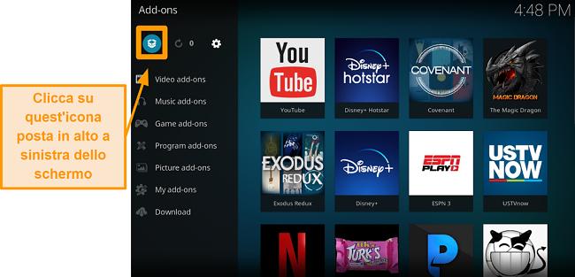screenshot di come installare l'addon ufficiale di Kodi, passaggio tre, fare clic sull'icona della casella