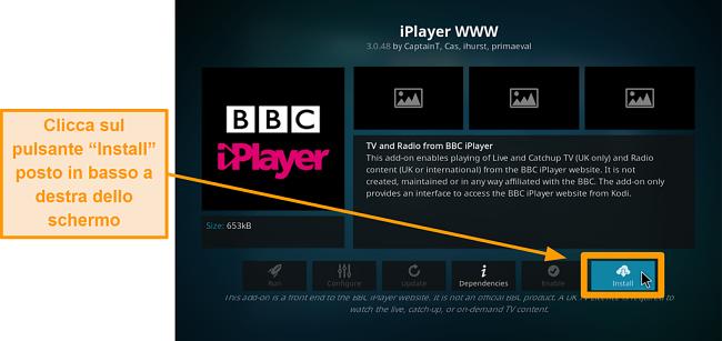 screenshot di come installare l'addon ufficiale di Kodi passo otto clic su installa