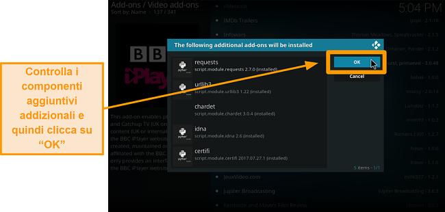screenshot di come installare l'addon ufficiale di Kodi passaggio nove controlla i componenti aggiuntivi quindi fai clic su ok