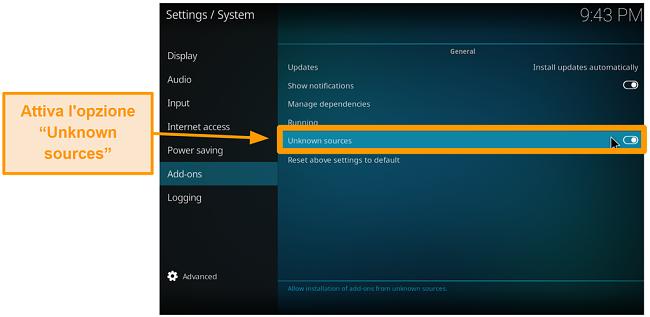 screenshot come installare l'addon Kodi di terze parti passaggio 4 attiva le fonti sconosciute