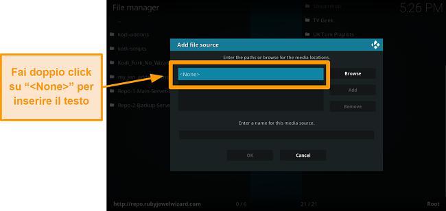 screenshot come installare l'addon kodi di terze parti passo 7 fare doppio clic su nessuno