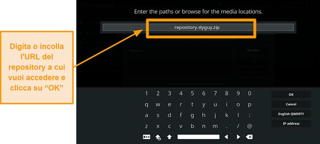 screenshot come installare l'addon kodi di terze parti passo 8 digitare l'URL della fonte