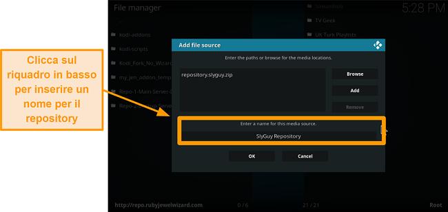 screenshot come installare l'addon Kodi di terze parti passo 9 digita il nome del repository