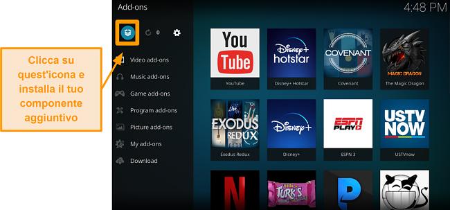 screenshot come installare l'addon Kodi di terze parti passaggio 13 fare clic sull'icona della casella