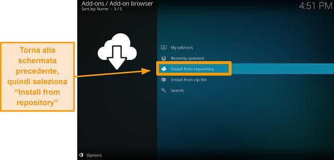 screenshot come installare l'addon Kodi di terze parti passo 17 fai clic su installa dal repository