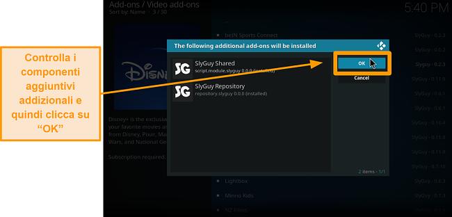 screenshot come installare l'addon Kodi di terze parti passaggio 18 sheck addons extra quindi fai clic su ok