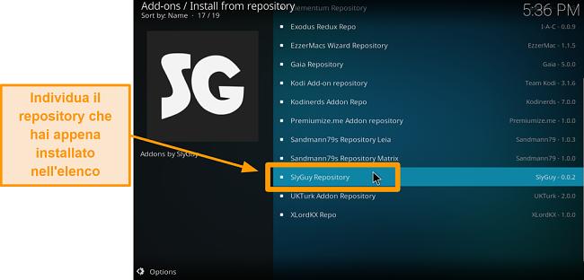 screenshot come installare l'addon Kodi di terze parti passaggio 19 trova il repository appena installato
