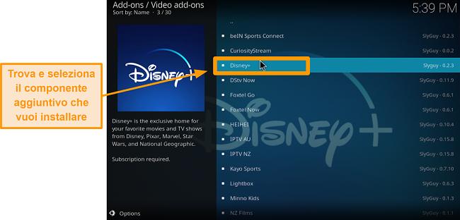 screenshot come installare l'addon di Kodi di terze parti passaggio 21 trova l'addon desiderato