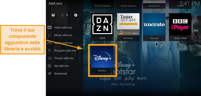 screenshot come installare l'addon Kodi di terze parti passaggio 9 doppio clic sulla casella del nome trova l'addon nella libreria