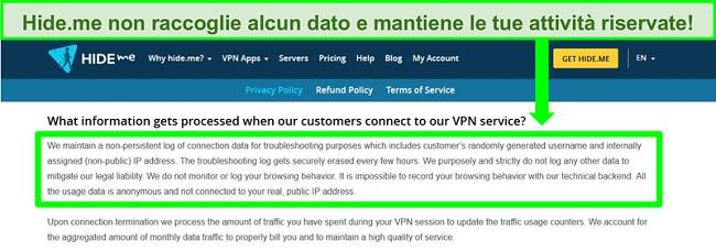 Screenshot della politica sulla privacy di Hide.me che mostra che non vengono conservati registri di dati