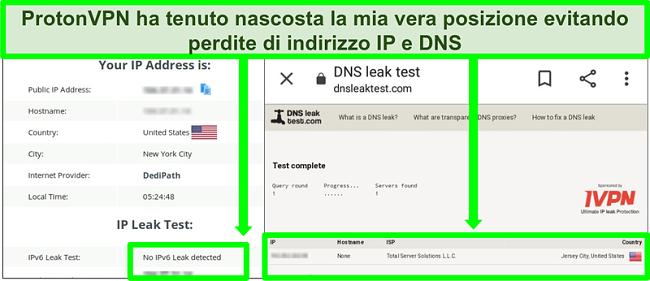 Screenshot di un test di perdita di indirizzi IP e DNS che mostra l'assenza di perdite di indirizzi IP durante la connessione a ProtonVPN