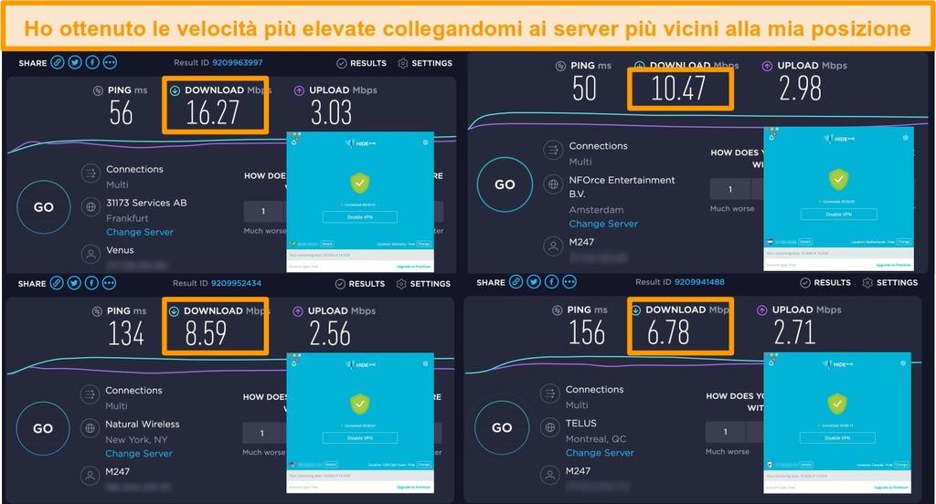 Schermata della VPN Hide.me connessa ai server in Germania, Paesi Bassi, Stati Uniti e Canada e risultati dei test di velocità