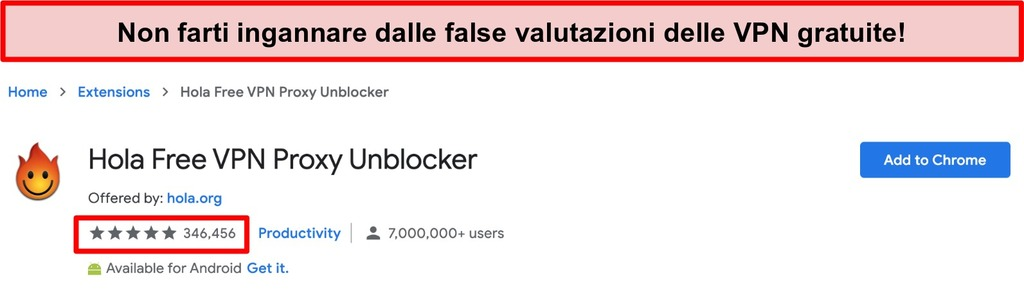 Schermata di Hola Free VPN Proxy Unblocker nel negozio di estensioni di Google Chrome