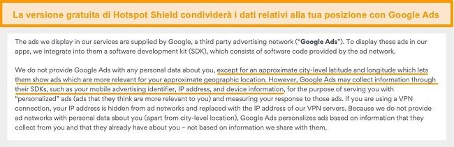 Schermata della politica sulla privacy di Hotspot Shield su Google Ads