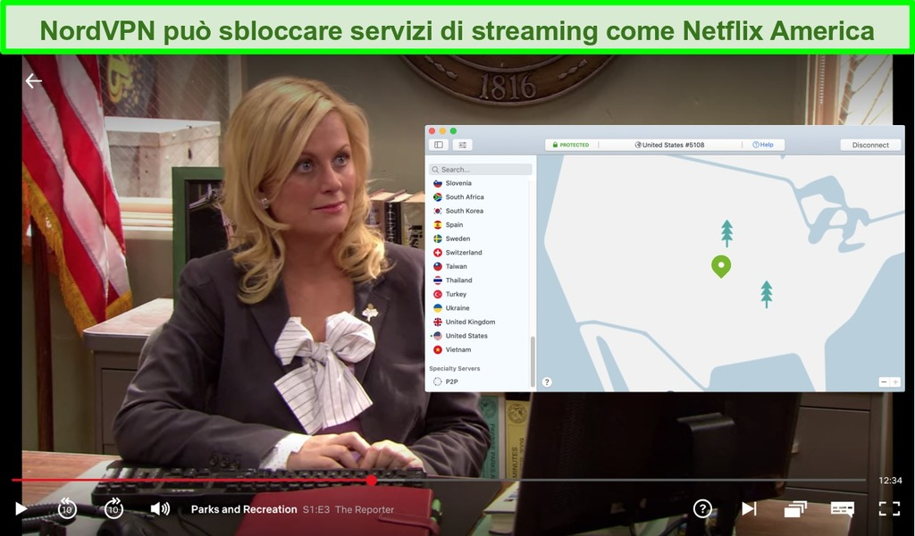 Schermata di Netflix US che gioca a Parks and Recreation con NordVPN collegato a un server USA