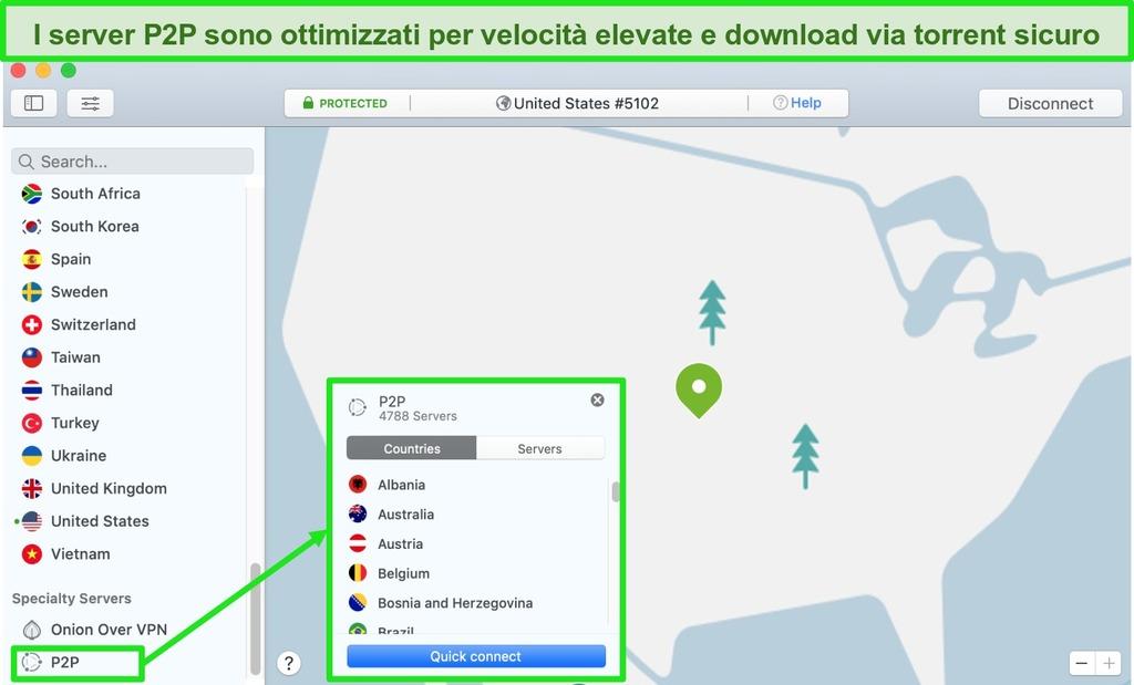 Schermata dei server P2P di NordVPN sull'app Mac