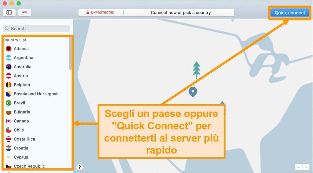 Schermata dell'app NordVPN su Mac con Quick Connect e opzioni di elenco dei server