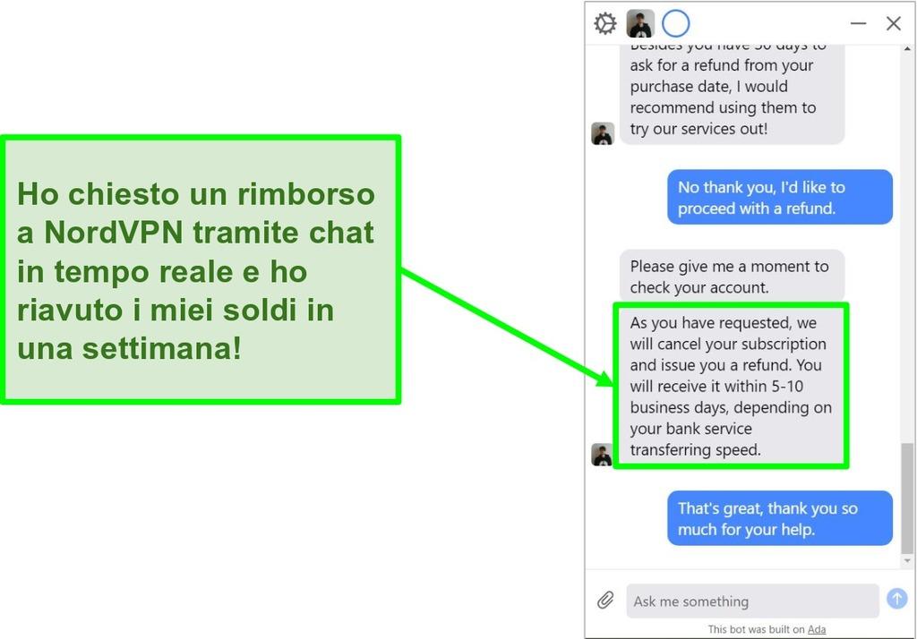 Schermata di un cliente che richiede un rimborso con la garanzia di rimborso di 30 giorni sulla live chat di NordVPN