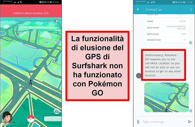 Schermate del servizio clienti di Surfshark che confermano che Pokémon Go non funziona con lo spoofing GPS, con screenshot di Pokémon Go che mostra che non è stato possibile rilevare la posizione corrente