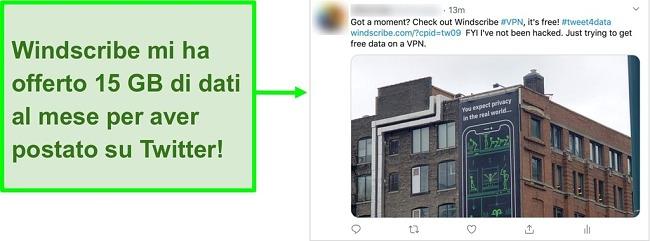 Schermata del post di Twitter che promuove Windscribe VPN in cambio di 15 GB di dati gratuiti ogni mese
