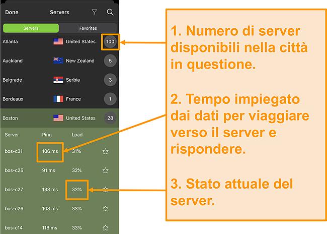 Schermata dell'elenco dei server IPVanish con numeri di server, ping e carico del server evidenziati server