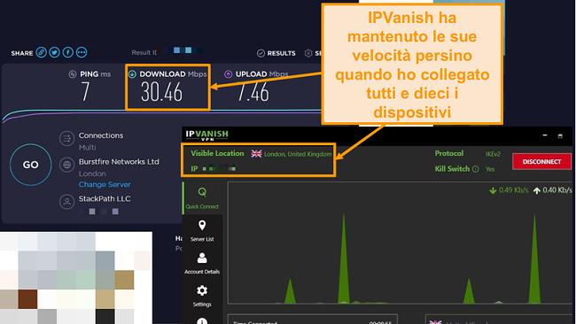 Screenshot di un test di velocità con connessione IPVanish