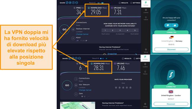 Screenshot del confronto di velocità Surfshak