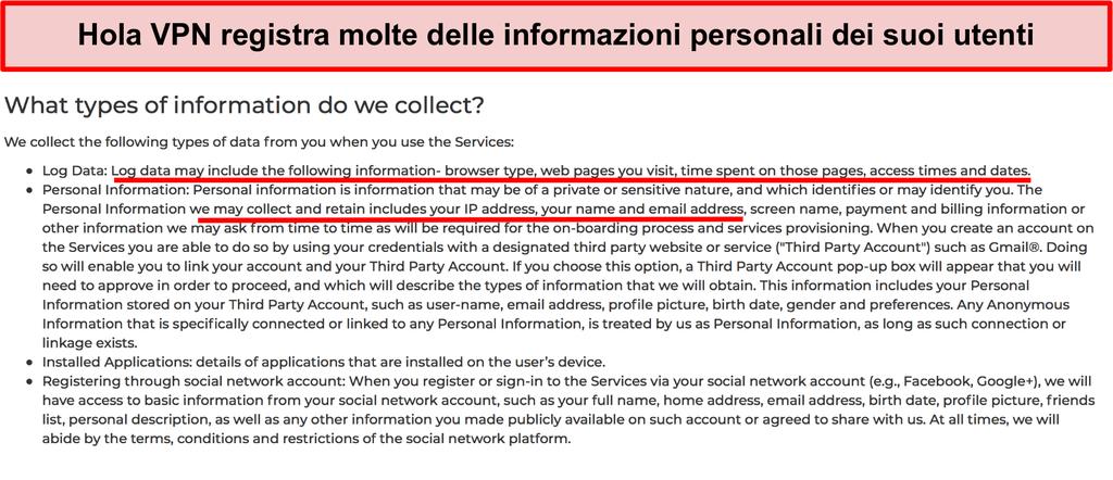 Screenshot della politica sulla privacy di Hola VPN che mostra che registra l'indirizzo IP