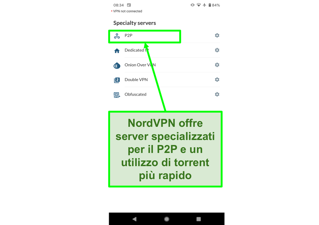 Screenshot dell'app NordVPN per Android che mostra server P2P speciali