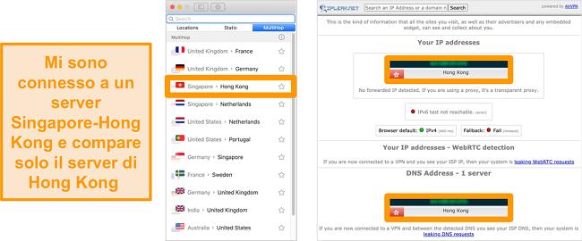 Screenshot del server MultiHop (doppia VPN) di Surfshark per Singapore e Hong Kong, insieme ai risultati dei test di tenuta che mostrano solo il server di Hong Kong visibile