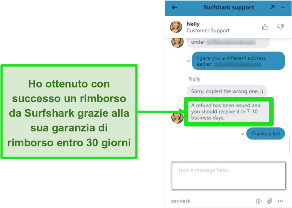 Screenshot della live chat di Surfshark e una richiesta di rimborso