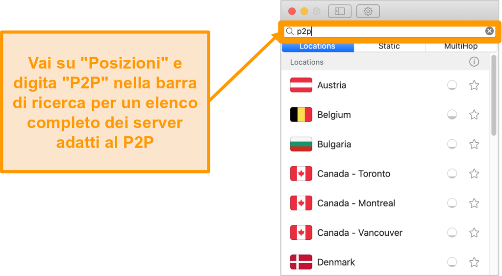 Screenshot dei server P2P di Surfshark sull'app per Mac