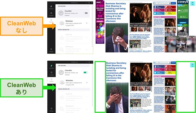 SurfsharkのCleanWeb機能がすべての広告をブロックしているDaily Mail Webサイトのスクリーンショット