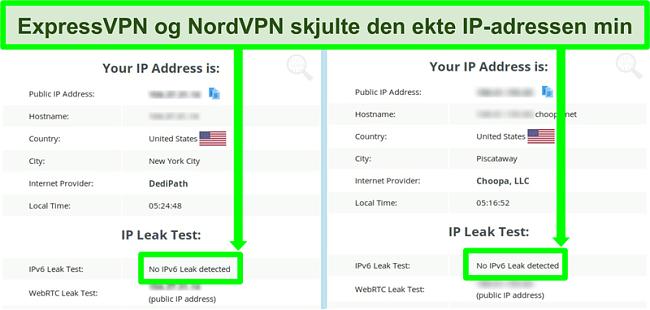 Skjermbilde som viser ingen IPv6-lekkasje oppdaget for både NordVPN og ExpressVPN