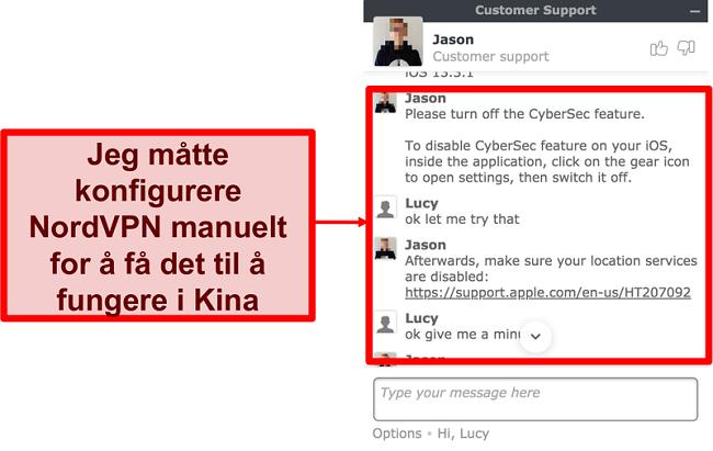 Skjermbilde av chat med NordVPN som ber om råd om hvordan du får appen til å fungere i Kina