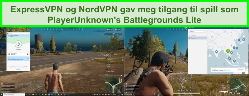 Skjermbilde av NordVPN og ExpressVPN som blokkerer PlayerUnknown's Battlegrounds Lite på PC