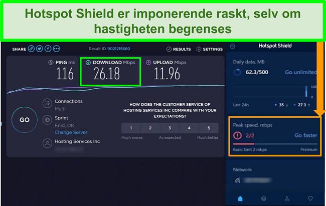 Skjermbilde av hastighetstestresultater mens du er koblet til Hotspot Shield-grensesnitt