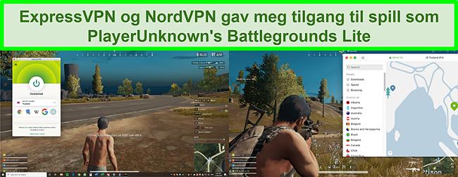 Sammenligning skjermbilder av en bruker som spiller PlayUnknown's Battlegrounds Lite mens den er koblet til henholdsvis ExpressVPN og NordVPN