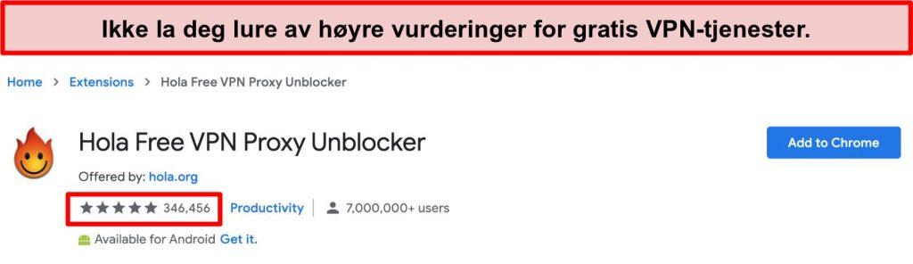 Skjermbilde av Hola Free VPN Proxy Unblocker i Google Chrome extensions store