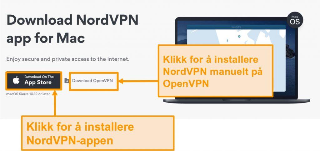 Skjermbilde av NordVPNs nedlastingsside for App Store-app eller OpenVPN-app