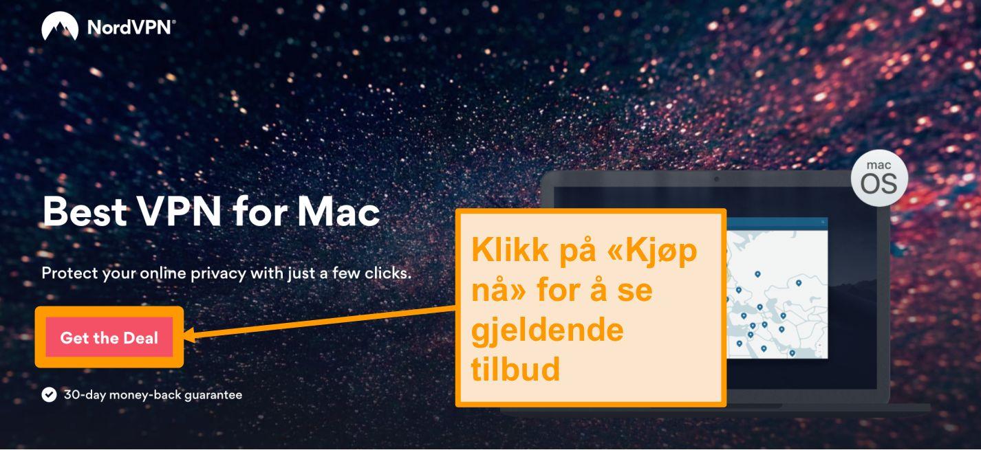 Skjermbilde av NordVPNs tilbudsside for Mac-brukere
