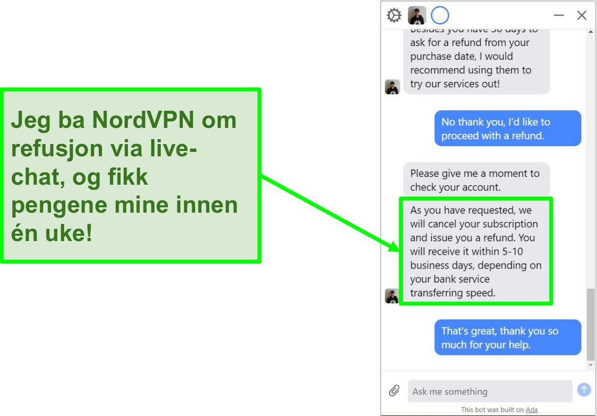 Skjermbilde av en kunde som ber om refusjon med 30-dagers pengene-tilbake-garanti på NordVPNs live chat