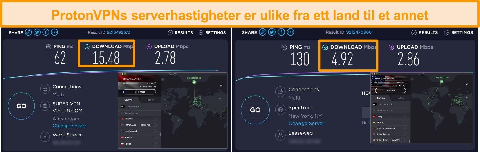 Skjermbilde av ProtonVPN koblet til Nederland og USA med hastighetstestresultater
