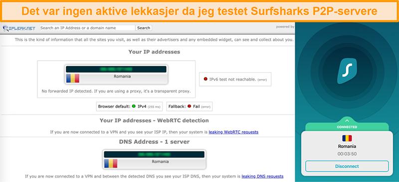 Skjermbilde av Surfshark lekkasjetest som viser at det ikke er IP-lekkasjer
