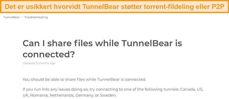 Skjermbilde av TunnelBears feilsøkingsside om fildeling
