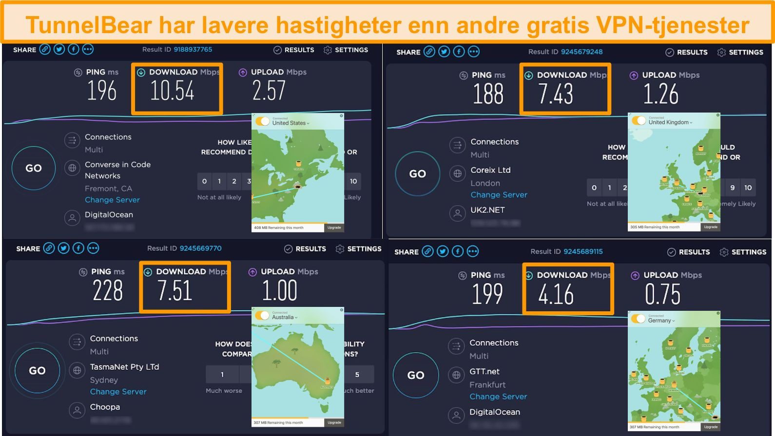 Skjermbilde av TunnelBears servere i Tyskland, Storbritannia, USA og Australia og hastighetstestresultater