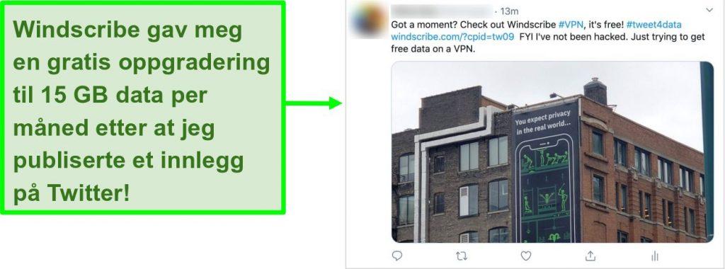 Skjermbilde av Twitter-innlegg som promoterer Windscribe VPN til gjengjeld for 15 GB gratis data hver måned
