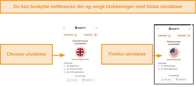 Skjermbilde av Hola VPNs Chrome- og Firefox-nettleserutvidelser